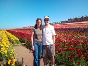 Timothy and his wife visiting the Carlsbad Flower Fields, a major producer of Ranunculus shipped nationwide