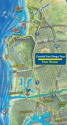 Tour Route for San Diego Tours to La Jolla & Torrey Pines