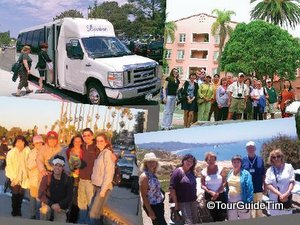 Photo collage of happy guests at three different stops on our San Diego Tours and photo of guests boarding our tour bus