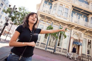Guide leading historic Gaslamp Food Tour