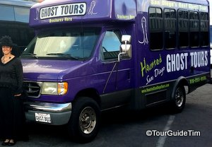 Purple Ghost Bus with Guide in Costume